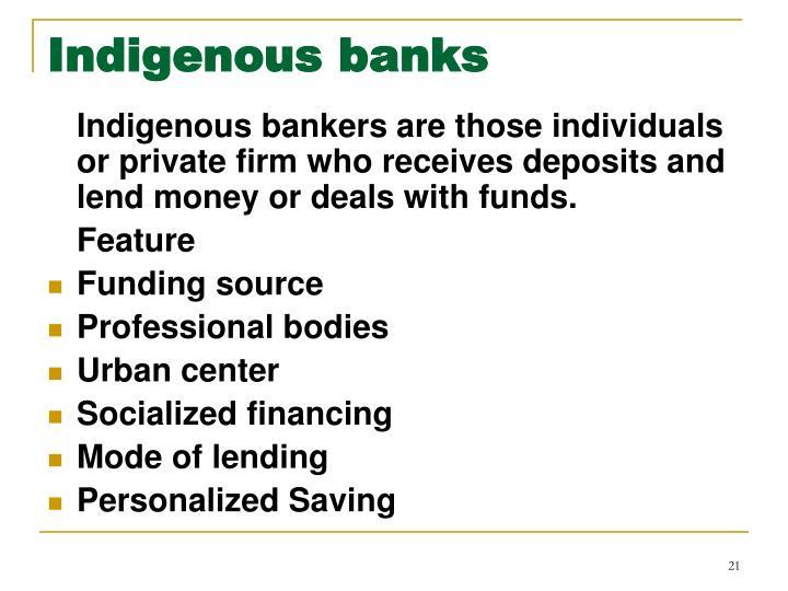 Indigenous banks