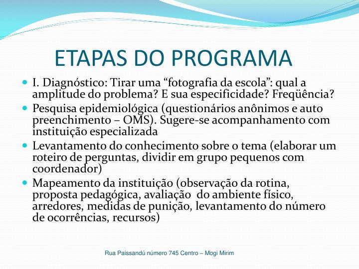 ETAPAS DO PROGRAMA