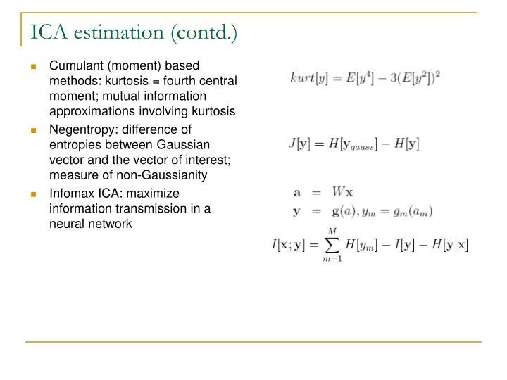 ICA estimation (contd.)