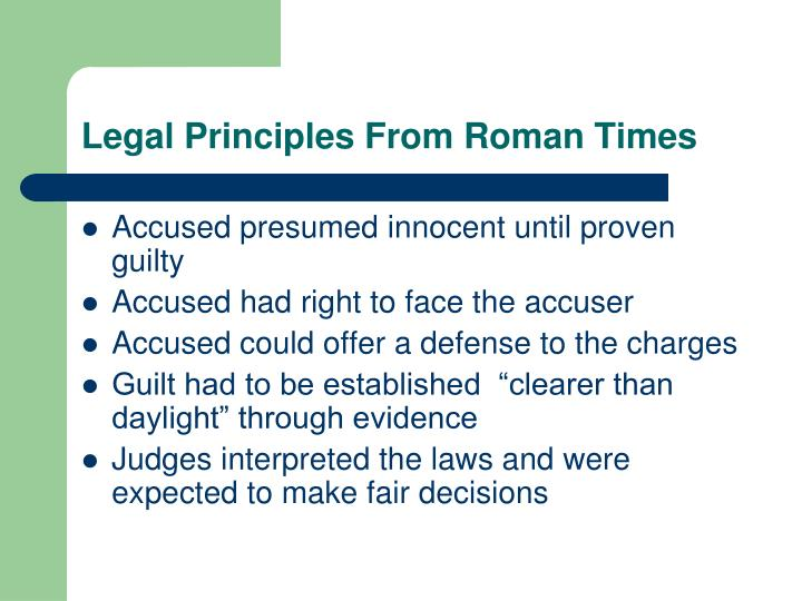 Legal Principles From Roman Times