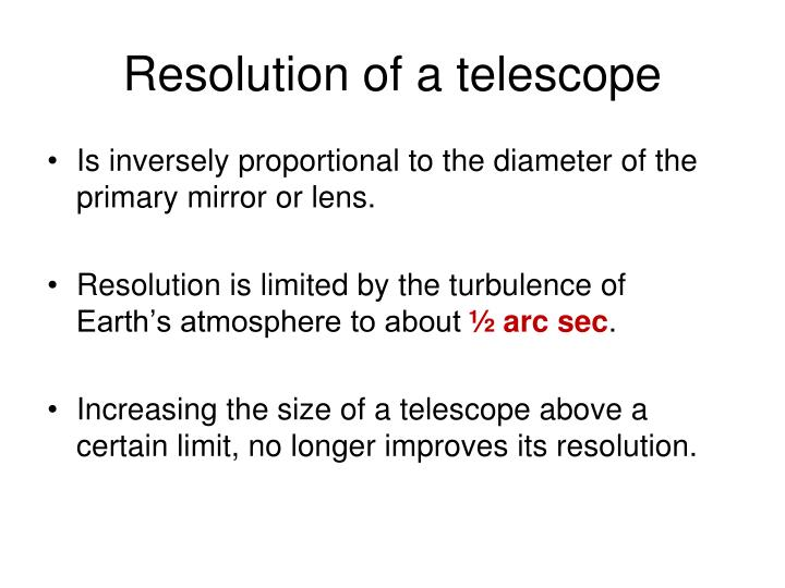 Resolution of a telescope