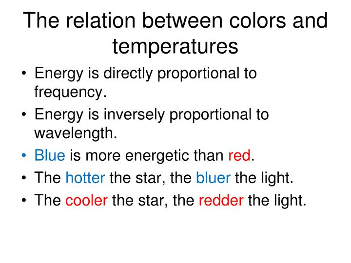 The relation between colors and temperatures