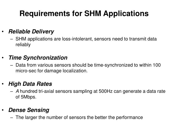 Requirements for SHM Applications