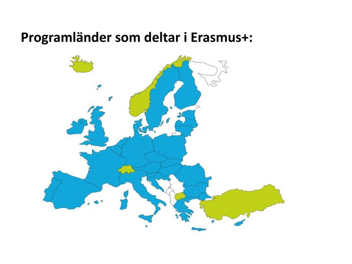 Programländer som deltar i Erasmus+: