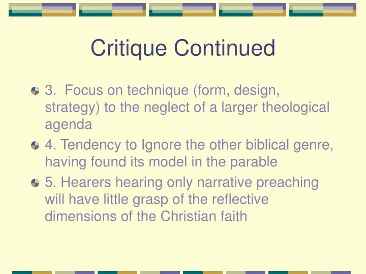 Critique Continued