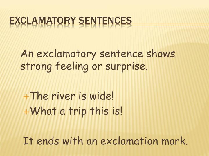 An exclamatory sentence shows strong feeling or surprise.