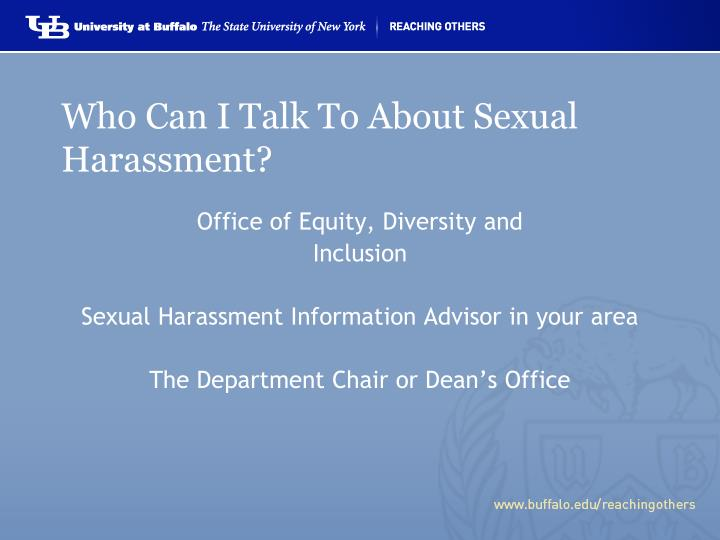 Who Can I Talk To About Sexual Harassment?
