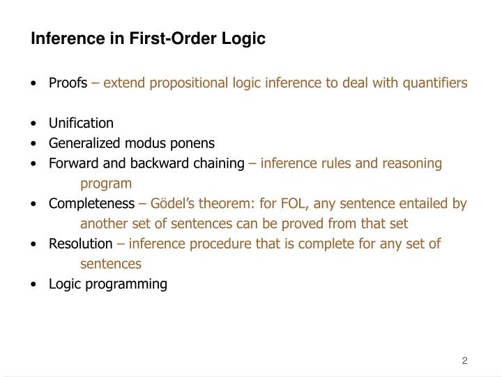 Inference in first order logic1