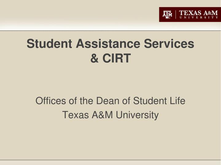 Student assistance services cirt