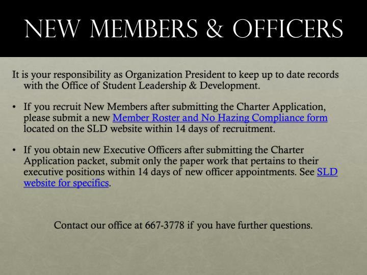 New members & officers