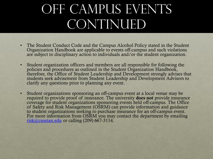 Off campus events continued