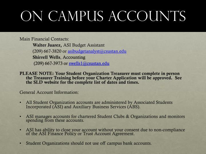 On Campus Accounts