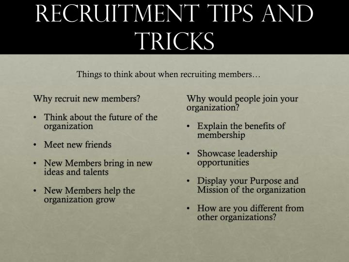 Recruitment Tips and Tricks