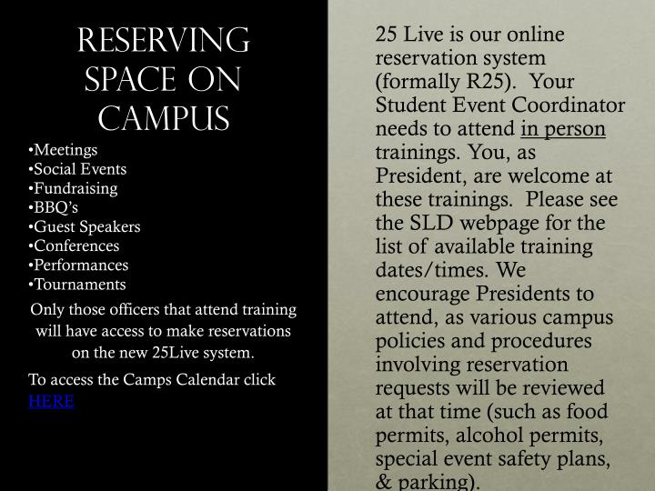 Reserving Space on campus
