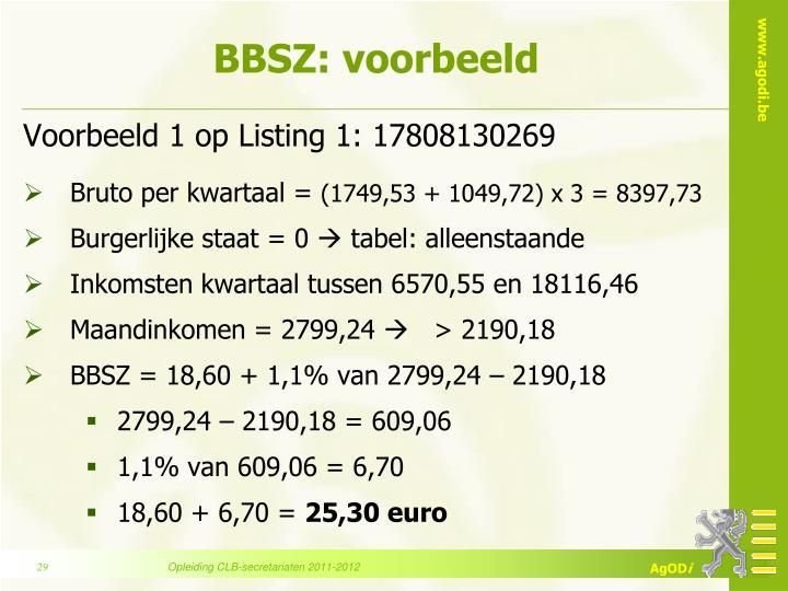 BBSZ: voorbeeld