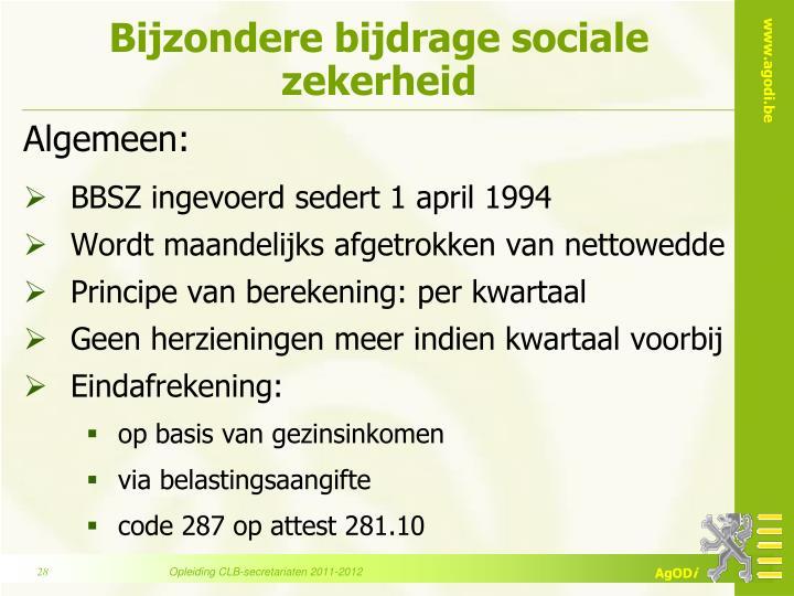 Bijzondere bijdrage sociale zekerheid