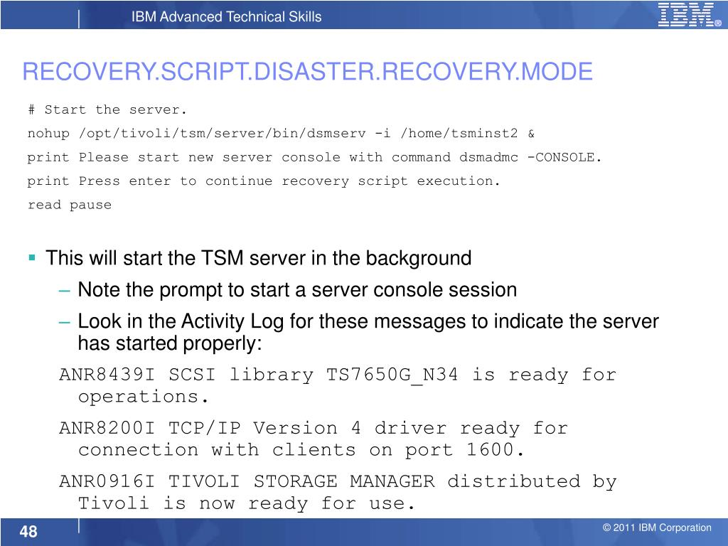 PPT - Performing Disaster Recovery with Tivoli Storage Manager