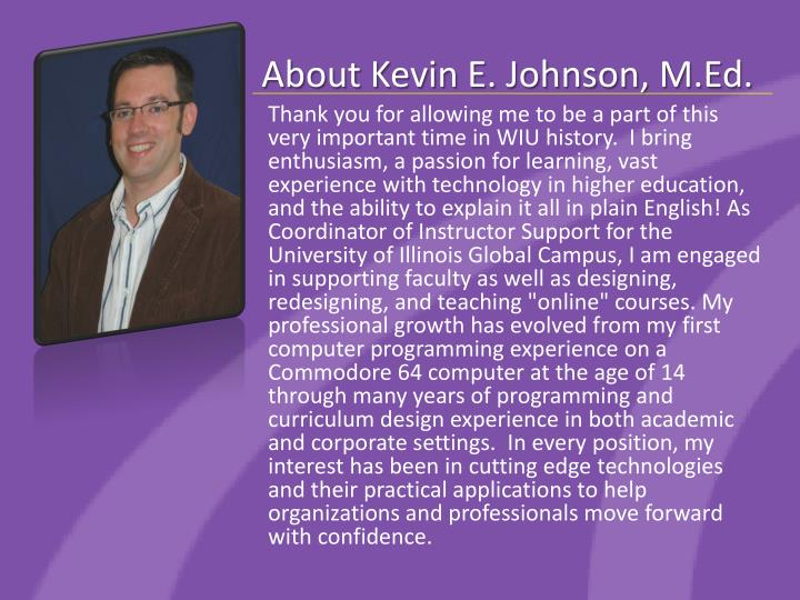 About kevin e johnson m ed
