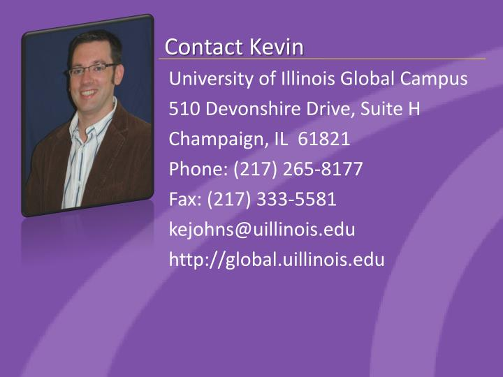 Contact kevin