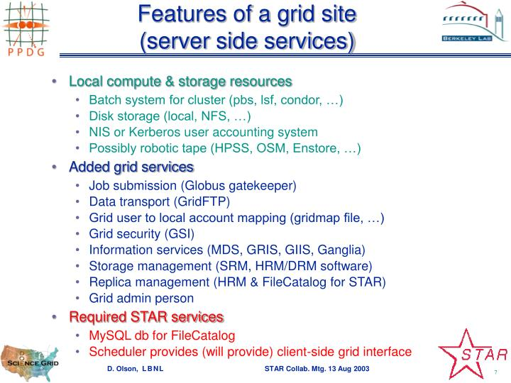 Features of a grid site