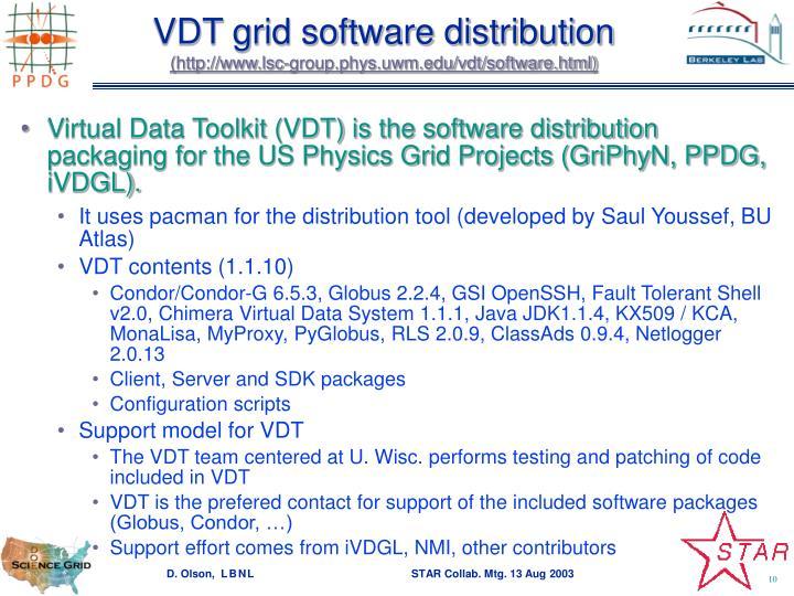 VDT grid software distribution