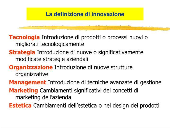 La definizione di innovazione