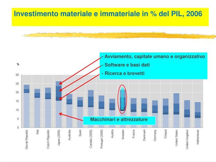 Investimento materiale e immateriale in % del PIL, 2006