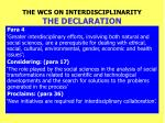 the wcs on interdisciplinarity the declaration