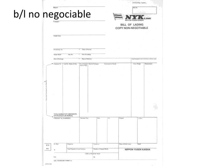 b/l no negociable
