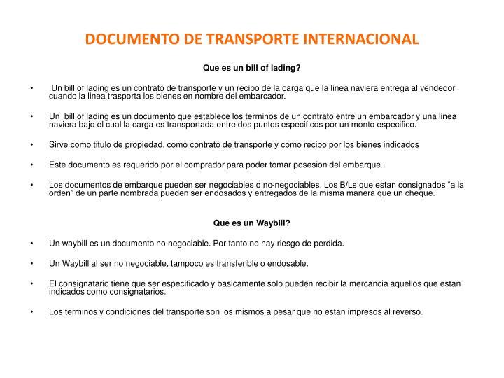 DOCUMENTO DE TRANSPORTE INTERNACIONAL
