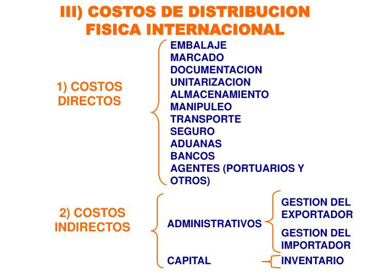 III) COSTOS DE DISTRIBUCION FISICA INTERNACIONAL