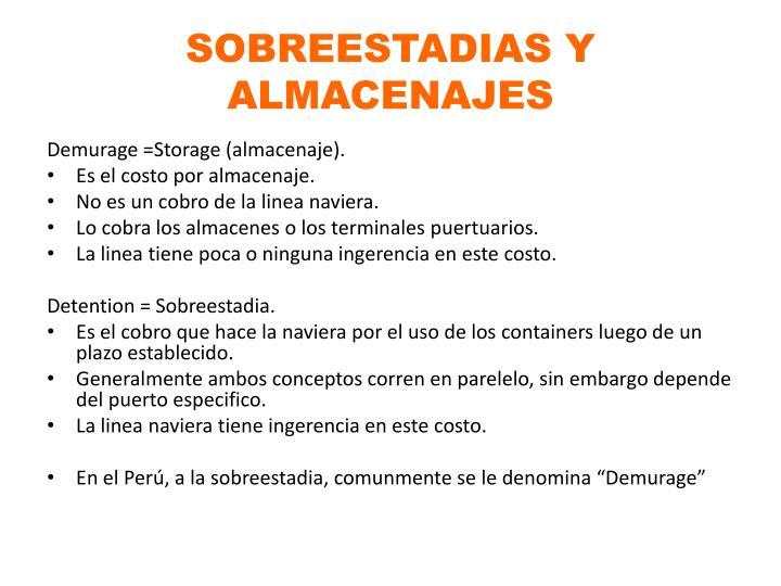 SOBREESTADIAS Y ALMACENAJES