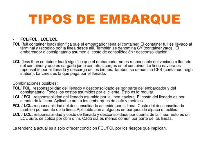 TIPOS DE EMBARQUE