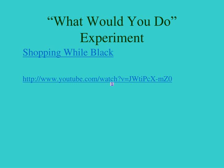 """What Would You Do"" Experiment"