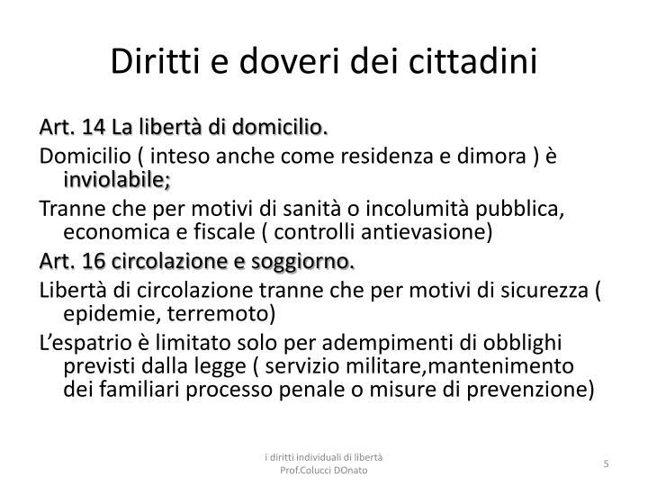 PPT - La costituzione: diritti e doveri dei cittadini (art. 13-54 ...