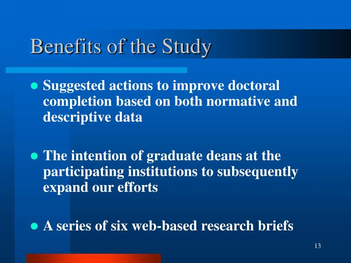 Benefits of the Study