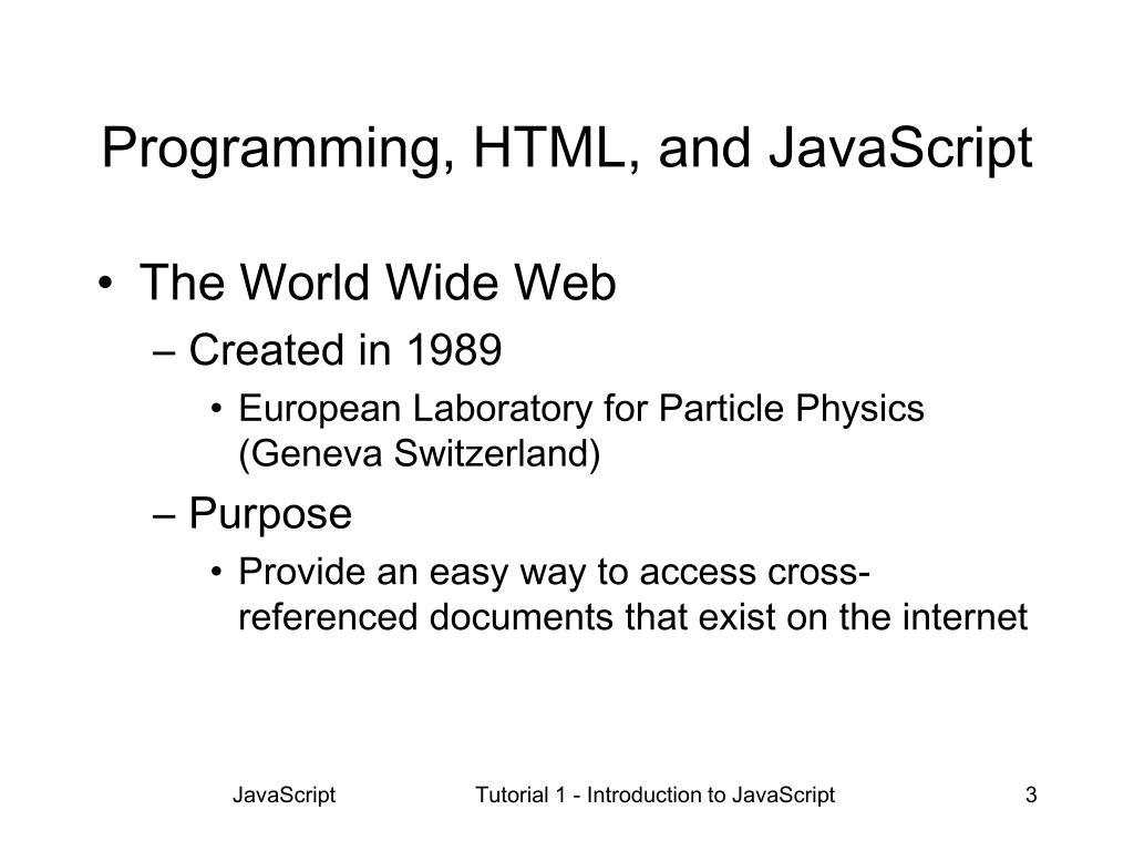 PPT - Tutorial 1 Introduction to JavaScript Section A