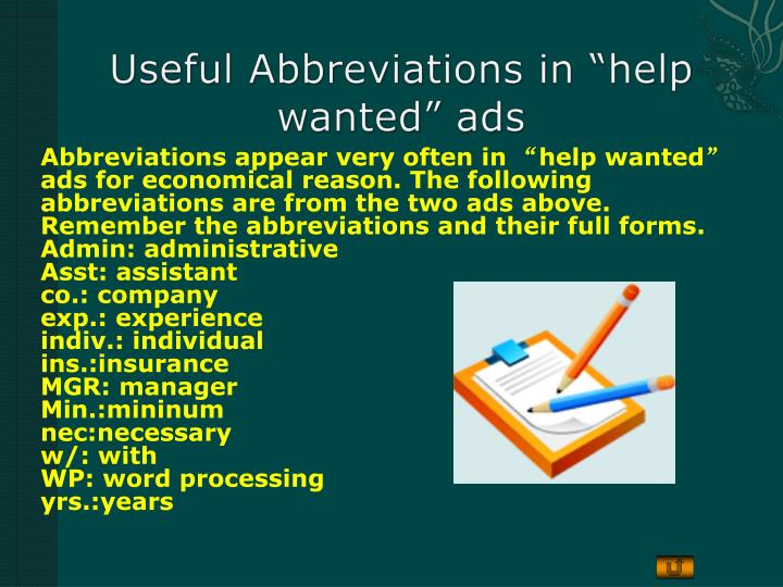 """Useful Abbreviations in """"help wanted"""" ads"""