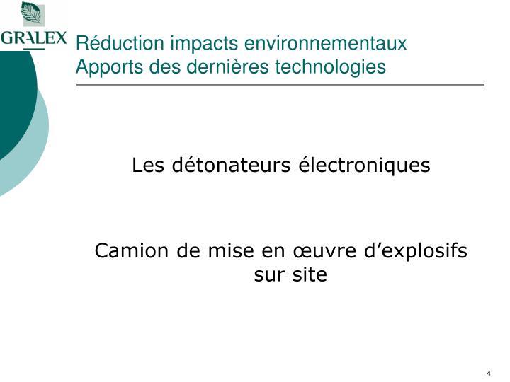 Réduction impacts environnementaux