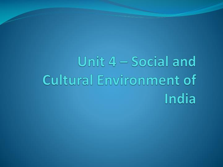social and cultural environment in india