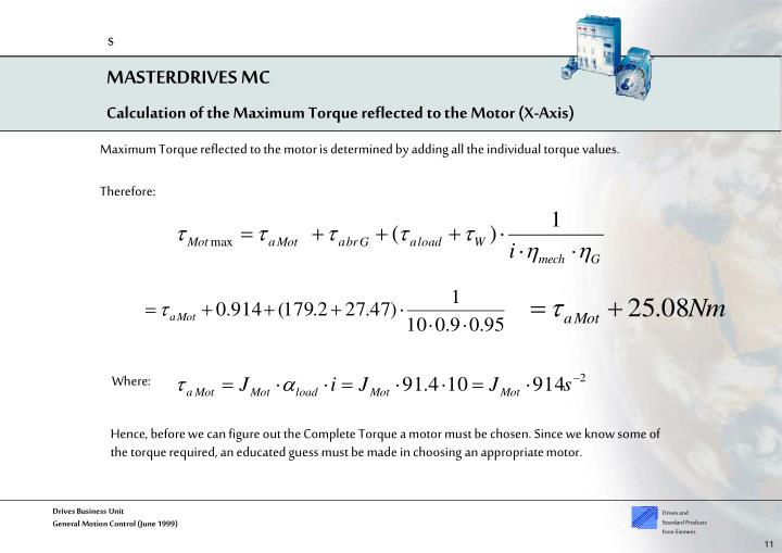 Calculation of the Maximum Torque reflected to the Motor (X-Axis)