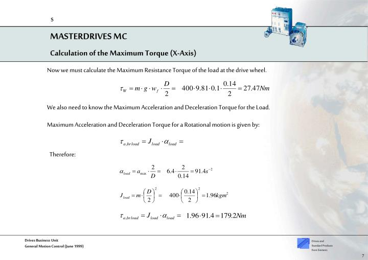 Calculation of the Maximum Torque (X-Axis)