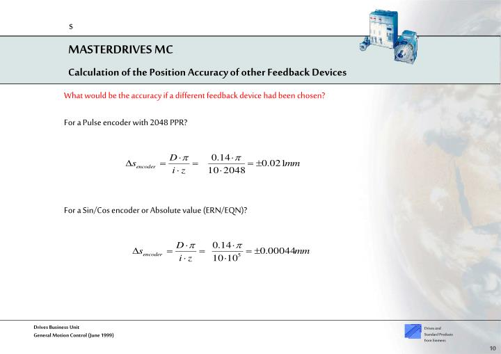 Calculation of the Position Accuracy of other Feedback Devices