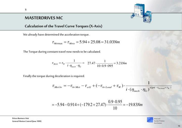 Calculation of the Travel Curve Torques (X-Axis)