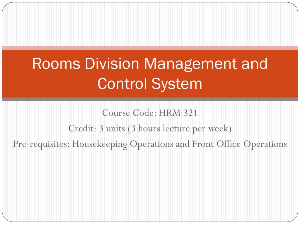 Rooms division management.