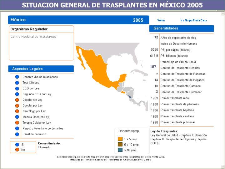 SITUACION GENERAL DE TRASPLANTES EN MÉXICO 2005