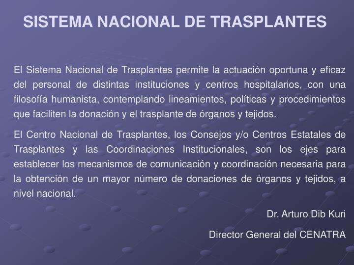 SISTEMA NACIONAL DE TRASPLANTES
