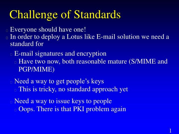 Challenge of Standards