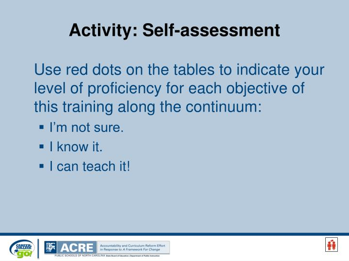 Activity self assessment