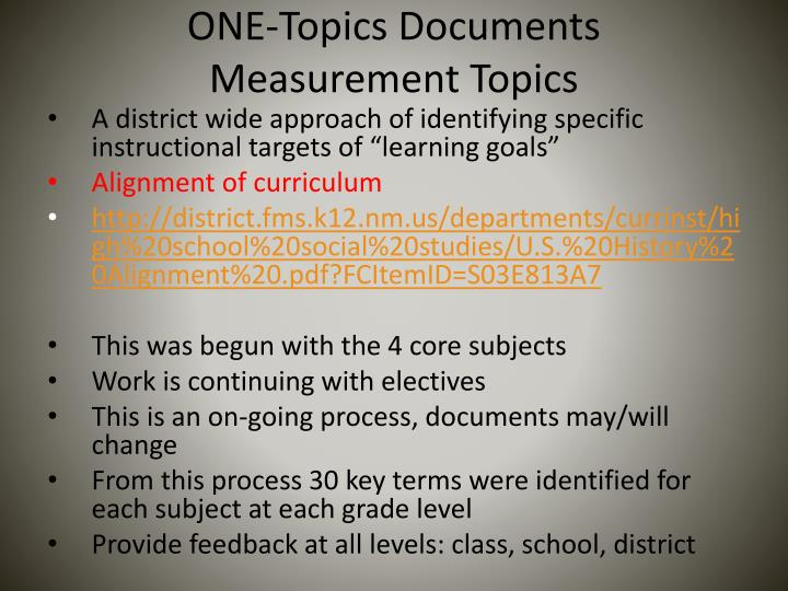 One topics documents measurement topics